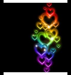 Rainbow Heart Border with Sparkles vector image