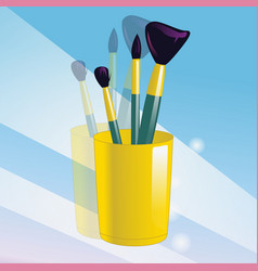 realistic mockup glass and makeup brushes vector image vector image