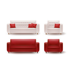 set of armchairs with sofas vector image