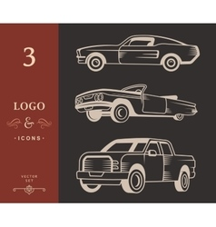 Set of Muscle car Vintage car and Pickup Truck vector image