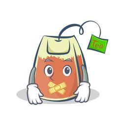 Silent tea bag character cartoon vector