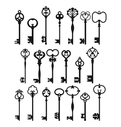 Silhouettes of vintage keys vector