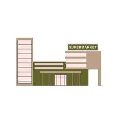 supermarket building where buying products for vector image