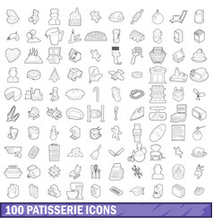 100 patisserie icons set outline style vector