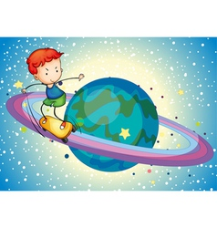 a boy on a planet vector image