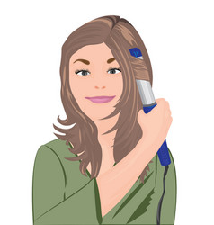 a girl curl her hair vector image