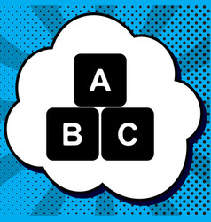 abc cube sign black icon in vector image