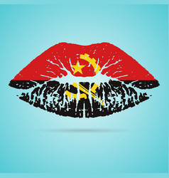 Angola flag lipstick on the lips isolated on a vector