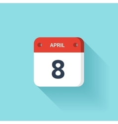 April 8 Isometric Calendar Icon With Shadow vector image