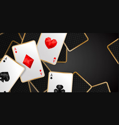 Banner with four aces playing cards suits vector
