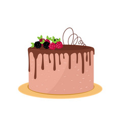 big round birthday or wedding cake with chocolate vector image