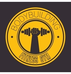 bodybuilding fitness gym icon vector image
