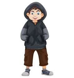 Boy in gray sweatshirt vector