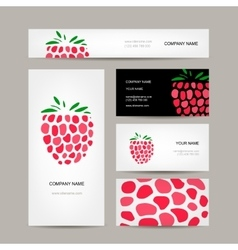 Business cards collection raspberry design vector