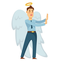 businessman angel with wings and halo stopping vector image