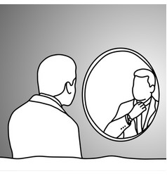 businessman looking at mirror in bathroom vector image