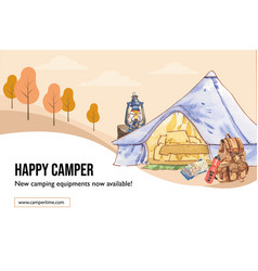 Camping frame design with tent map backpack vector