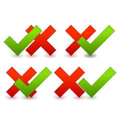 checkmark and cross composition vector image
