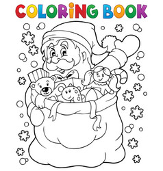 Coloring book santa claus in snow 4 vector