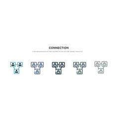 connection icon in different style two colored vector image