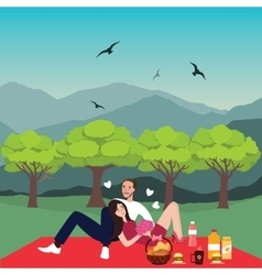 couple picnic man woman in park outdoor dating vector image