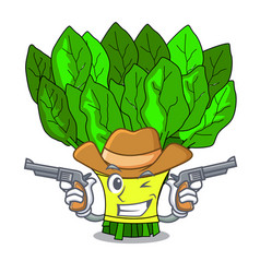 Cowboy spinach in a the cartoon basket vector