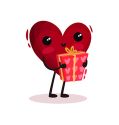 cute humanized red heart holding holiday present vector image