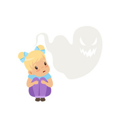 Cute little girl scared of ghosts kids vector