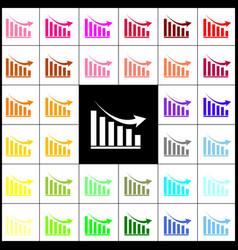 Declining graph sign felt-pen 33 colorful vector