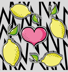 delicious tropical patches fruit design vector image