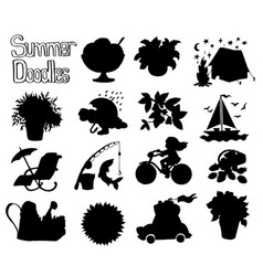 design set with black silhouettes summer icons vector image