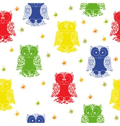 Different colour owl and stars seamless pattern vector