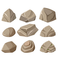 Different forms of gray rocks vector