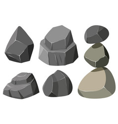 Different shapes gray rocks vector