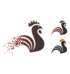 Dissipated pixelated halftone rooster icon vector