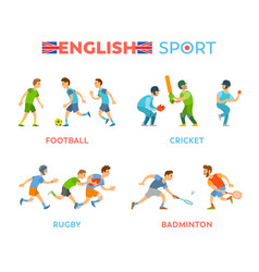 English sport football cricket rugbadminton vector