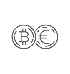 Euro currency exchange bitcoin thin line symbol vector