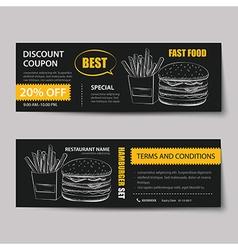 Fast food coupon discount template flat design vector