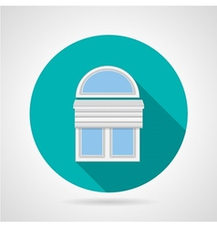 Flat icon for arch window with blinds vector image