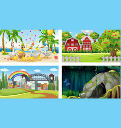 four different scenes with various animals vector image