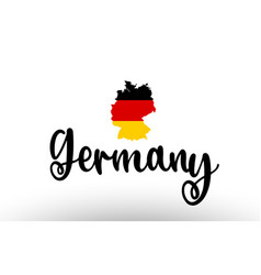 Germany country big text with flag inside map vector