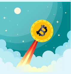 Golden bitcoin launching into sky image vector