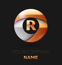 Golden letter r logo in the golden-silver circle vector