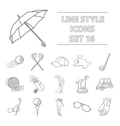 golf club set icons in outline style big vector image