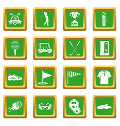 Golf items icons set green vector