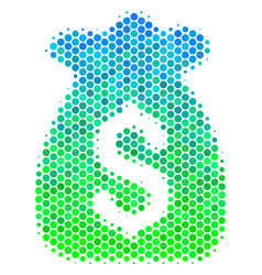 Halftone blue-green financial capital icon vector