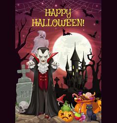 Halloween on graveyard dracula and castle treats vector