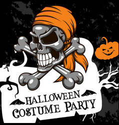Halloween poster costume party skull vector