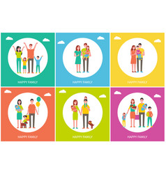 Happy family parents and children with dog vector