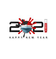 happy new year 2021 cover with coronavirus unit vector image
